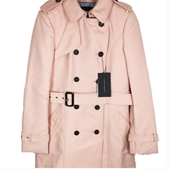 clearance shop for best select for authentic Zara SPRING Cotton belted light pink trench coat NWT